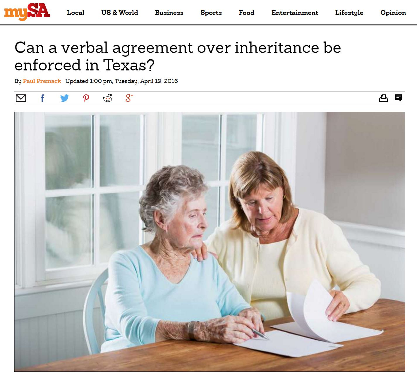 Can A Verbal Agreement Over Inheritance Be Enforced In Texas